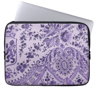 Purple Lace Flowers Laptop Sleeve