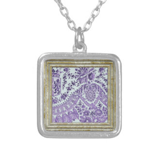 Purple Lace Flowers Silver Plated Necklace