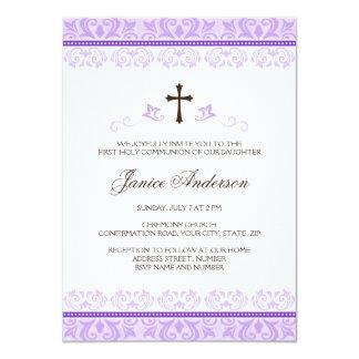 Purple lace girls first communion confirmation 11 cm x 16 cm invitation card