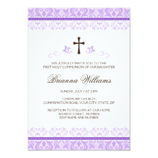 Purple lace girls first communion confirmation 13 cm x 18 cm invitation card