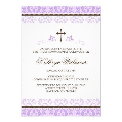 Purple lace girls first communion confirmation custom invitation