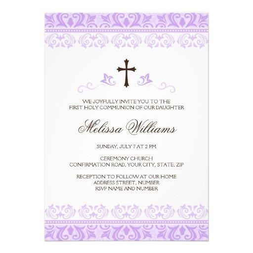 Purple lace girls first communion confirmation custom invitations