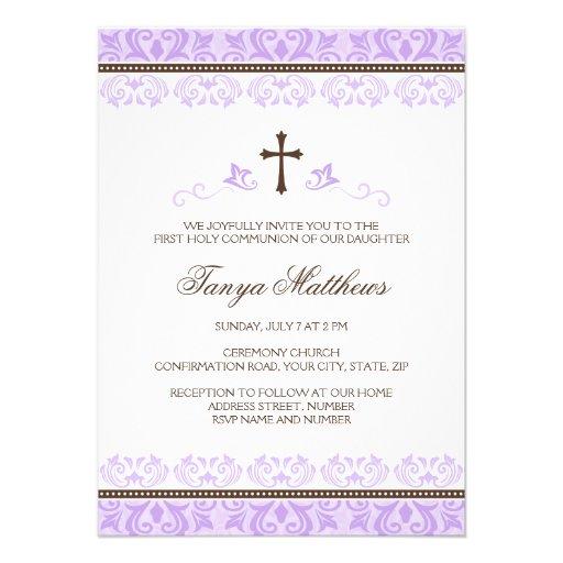 Purple lace girls first communion confirmation announcement