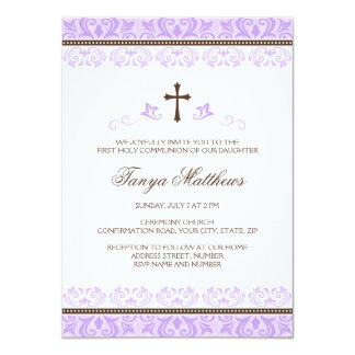Purple lace girls first communion confirmation 4.5x6.25 paper invitation card