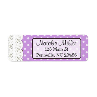 Purple Lace Polka Dot  Return Address Labels