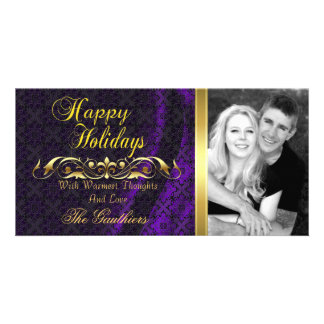 Purple Lace Silk & Gold Scroll Holiday Photo Card