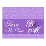 Purple Lace Stars Pattern Save the  Date V6 Post Cards