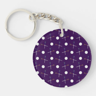 Purple lacrosse pattern Single-Sided round acrylic key ring