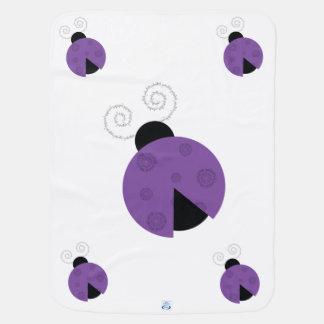 Purple Ladybug Baby Blanket