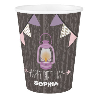 Purple Lantern Camping Kids Birthday Party Cups
