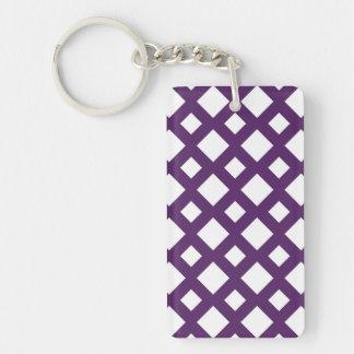 Purple Lattice on White Double-Sided Rectangular Acrylic Key Ring