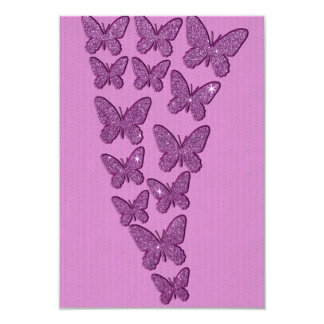 Purple Lavendar Glitter Butterflies 9 Cm X 13 Cm Invitation Card