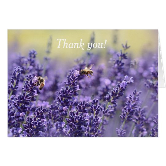 Purple Lavender and Bees Thank You Card