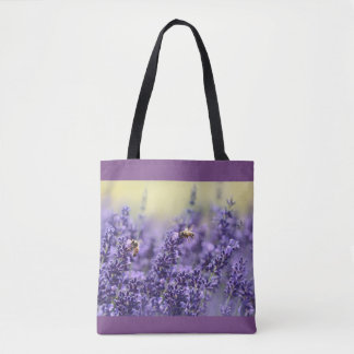 Purple Lavender and Bees Tote Bag