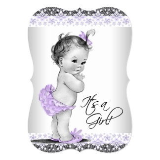 Purple Lavender and Gray Baby Girl Shower Personalized Announcement