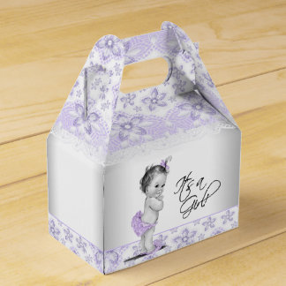 Purple Lavender and Gray Baby Shower Favour Box
