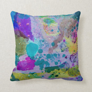 Purple lavender and green abstract splatter pillow cushions