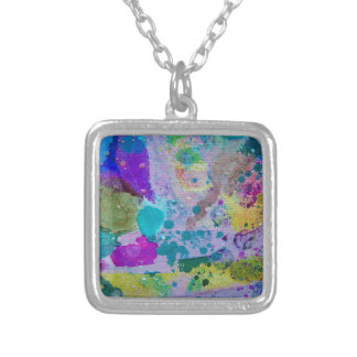 Purple lavender & blue abstract splatter necklace