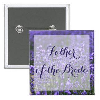 Purple Lavender Father of the Bride Wedding Button 2 Inch Square Button