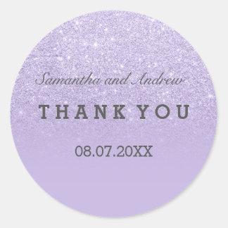 Purple lavender faux glitter ombre thank you round sticker