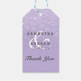 Purple lavender faux glitter ombre wedding favor