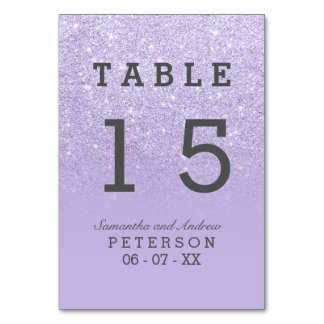 Purple lavender faux glitter ombre wedding table table cards