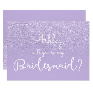 Purple lavender faux glitter typography bridesmaid card