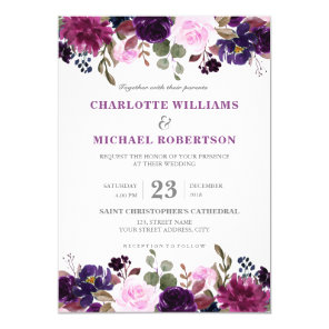 Purple Lavender Floral Boho Wedding Invitation