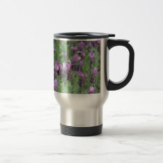Purple lavender flower garden stainless steel travel mug