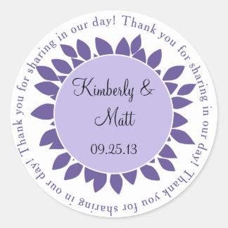 Purple Lavender Flower Petals Wedding Favor Sticke Round Sticker