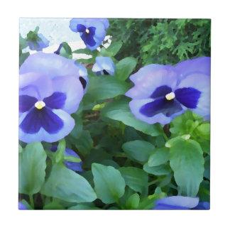 Purple Lavender Garden Pansies Flowers Floral Ceramic Tiles