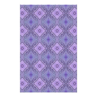 Purple Lavender Geometric Diamond Shaped Pattern Custom Stationery
