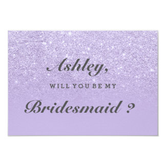 Purple lavender glitter ombre be my bridesmaid 9 cm x 13 cm invitation card