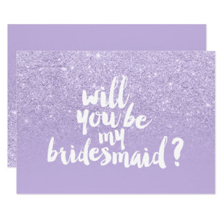 Purple lavender glitter ombre be my bridesmaid card
