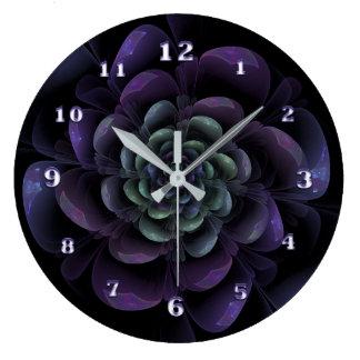 Purple Lavender Green Black Floral Spiral Large Clock