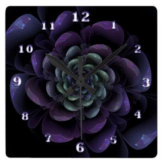Purple Lavender Green Black Floral Spiral Square Wall Clock