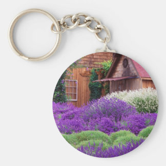 Purple Lavender Italia Basic Round Button Key Ring
