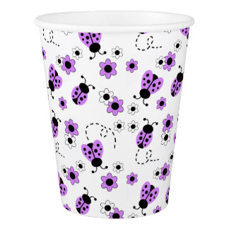 Purple Lavender Ladybug Girl Shower Birthday Party Paper Cup