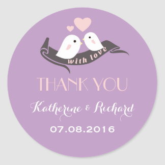 Purple Lavender Love Birds Wedding Favor Sticker