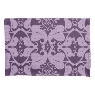 Purple Lavender Modern Elegant Ornate Leaf Pattern Pillowcase