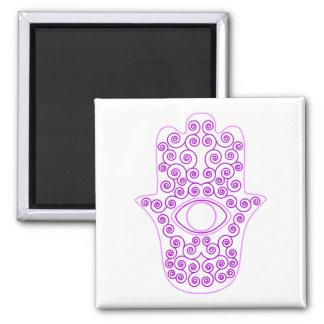 Purple Lavender Outline Hamsa-Hand of Miriam-Hand Square Magnet