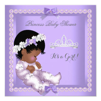 Purple Lavender Pearl Baby Shower Girl Ethnic 13 Cm X 13 Cm Square Invitation Card