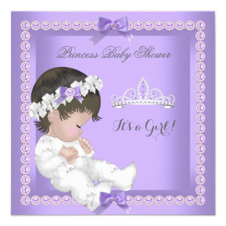 Purple Lavender Pearl Baby Shower Girl 13 Cm X 13 Cm Square Invitation Card