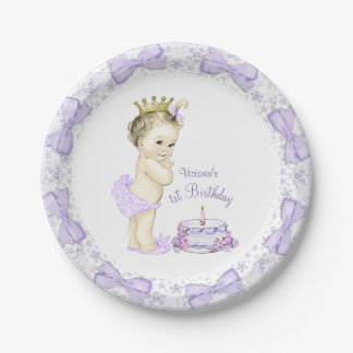 Purple Lavender Princess 1st Birthday Party Paper Plate