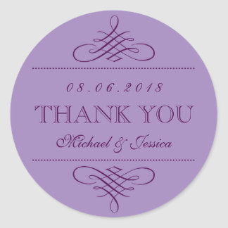 Purple Lavender Swirls Ornament Wedding Stickers