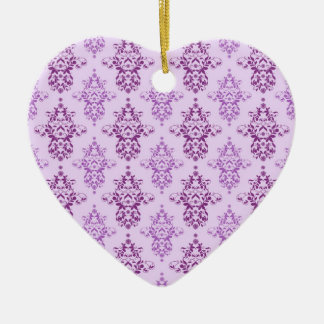 Purple Lavender Two Toned Damask Christmas Tree Ornament