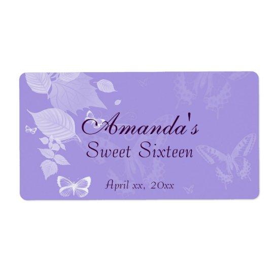 Purple Lavender Water Bottle Sweet SixteenWedding Shipping Label