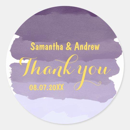 Purple lavender watercolor ombre stripe Thank you Classic Round Sticker