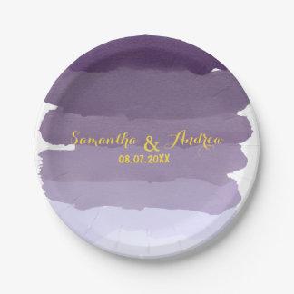Purple lavender watercolor ombre stripes wedding paper plate