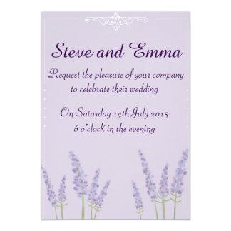 Purple, lavender wedding invitation. 13 cm x 18 cm invitation card